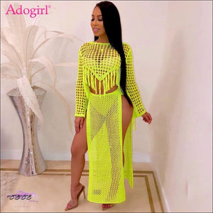 Highlight Them Curves Yellow Knitted Two Piece Set Dress