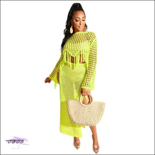 Highlight Them Curves Yellow Knitted Two Piece Set Dress yellow set / S / United States