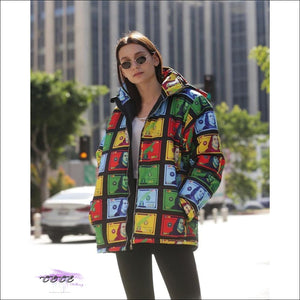 'Hustle By Any Means Necessary' Multicolor Dollar Bill Bubble Coat