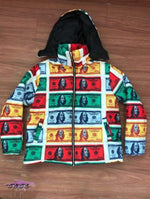 'Hustle By Any Means Necessary' Multicolor Dollar Bill Bubble Coat S