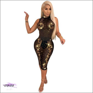 Hypnotizing Curves Sparkling See-Through Sequin Dress S