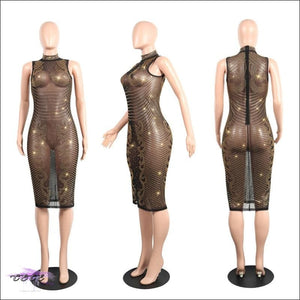 Hypnotizing Curves Sparkling See-Through Sequin Dress