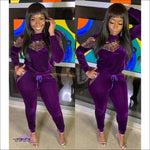 I Got Fashion On Lock Sequin Velour Two Piece Tracksuit Purple / S