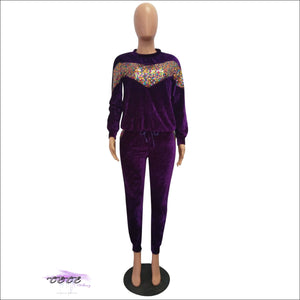I Got Fashion On Lock Sequin Velour Two Piece Tracksuit