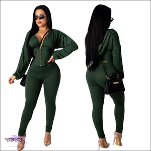 'I Got It Like That' Two Piece Cropped Hooded Tracksuit green / S
