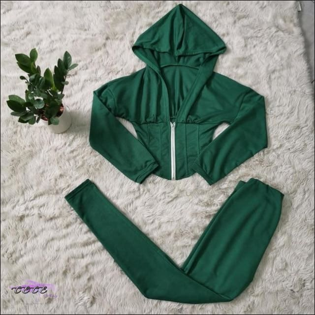 Adogirl Characteristic Waist Casual Two Piece Set Zipper Long Sleeve Cropped Sweatshirt Top Pencil green 2 piece set / S / United States
