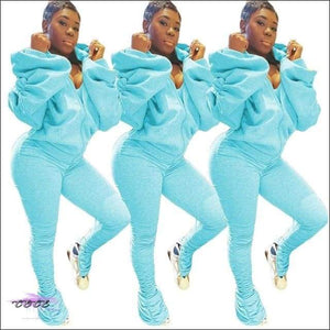 'I Gotcha Staring' Two Piece Backless Long Puff Sleeve Jumpsuit light blue suit / XL / United States