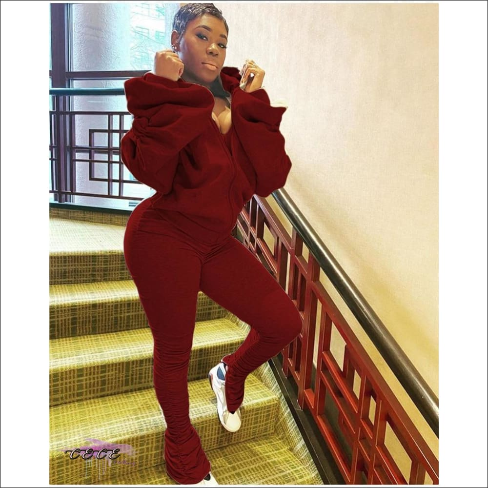 'I Gotcha Staring' Two Piece Backless Long Puff Sleeve Jumpsuit