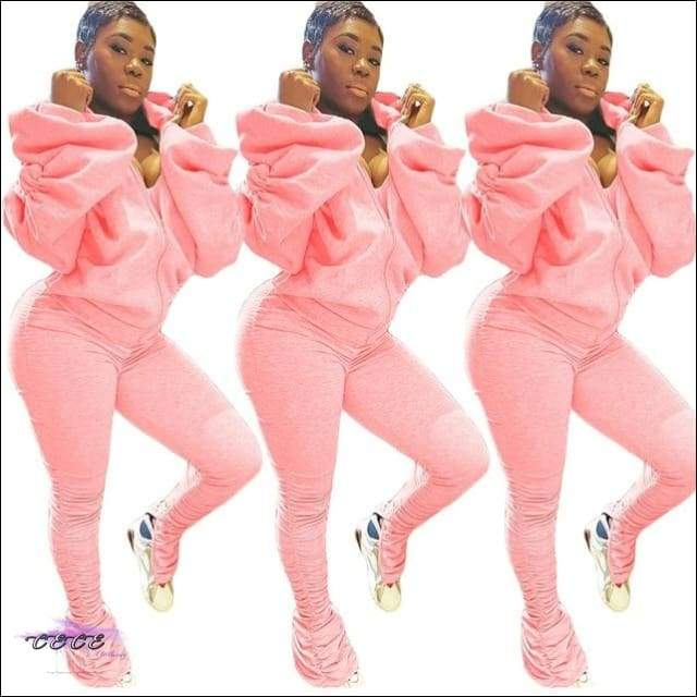 'I Gotcha Staring' Two Piece Backless Long Puff Sleeve Jumpsuit pink 2 piece set / XXL / United States
