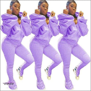 'I Gotcha Staring' Two Piece Backless Long Puff Sleeve Jumpsuit purple suit / L / United States
