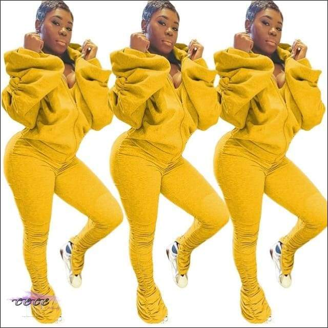 'I Gotcha Staring' Two Piece Backless Long Puff Sleeve Jumpsuit yellow suit / XL / United States