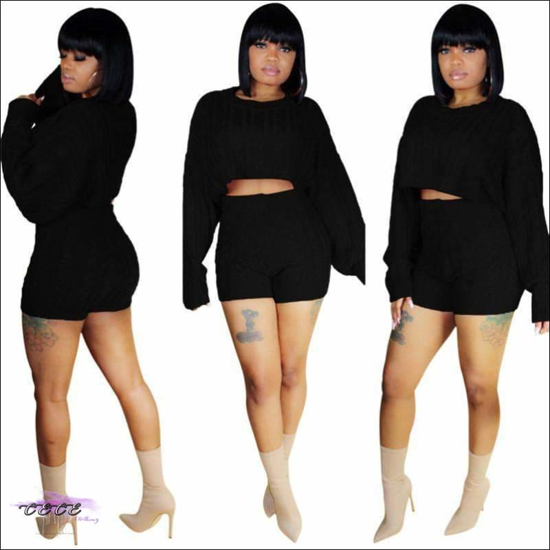 Curvy-Approved Two Piece Loose Crop Top + High Waist Shorts black two piece set / S