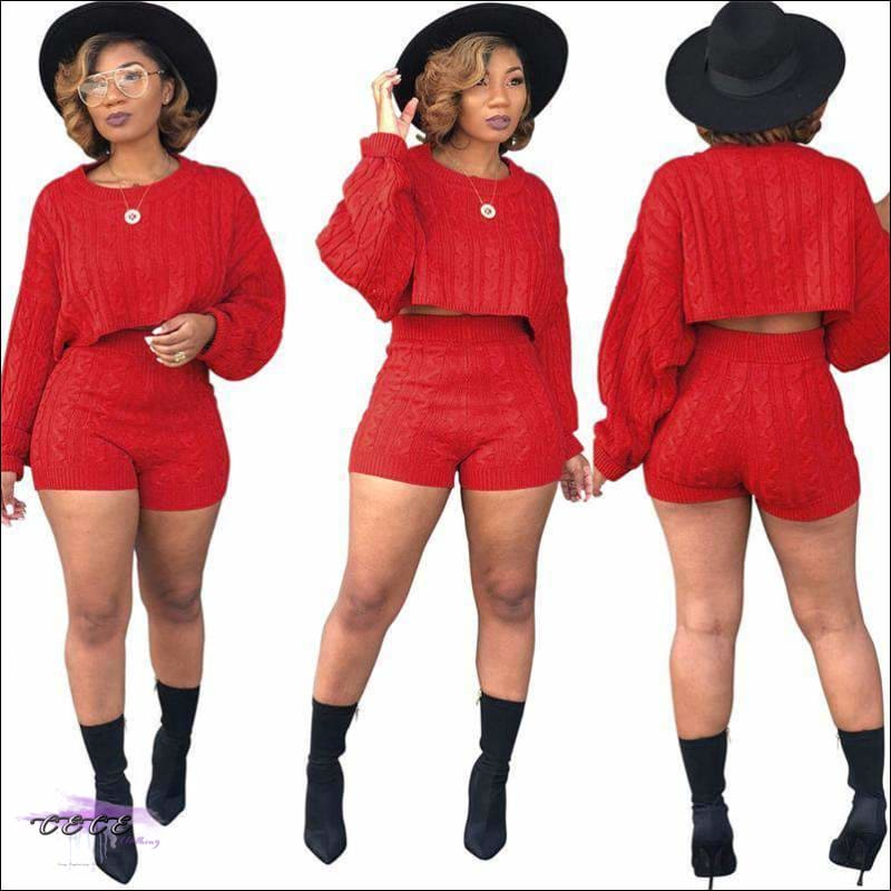 Curvy-Approved Two Piece Loose Crop Top + High Waist Shorts red two piece set / S