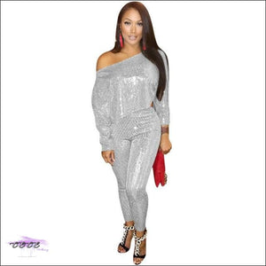 'I Naturally Flaunt' Silver Sequin Two Piece Set Silver / 2X