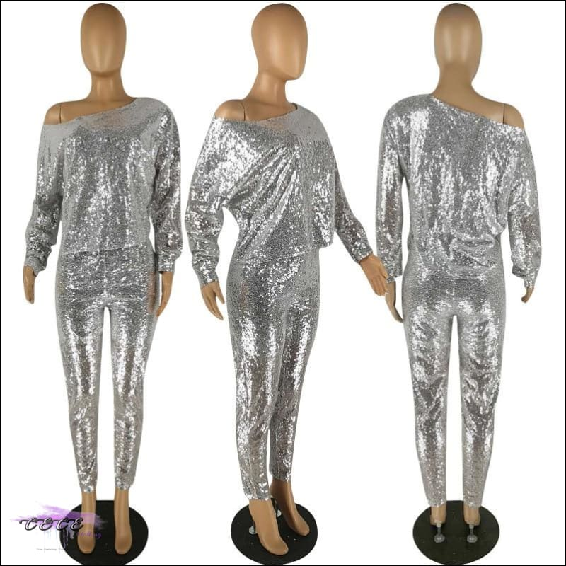 'I Naturally Flaunt' Silver Sequin Two Piece Set
