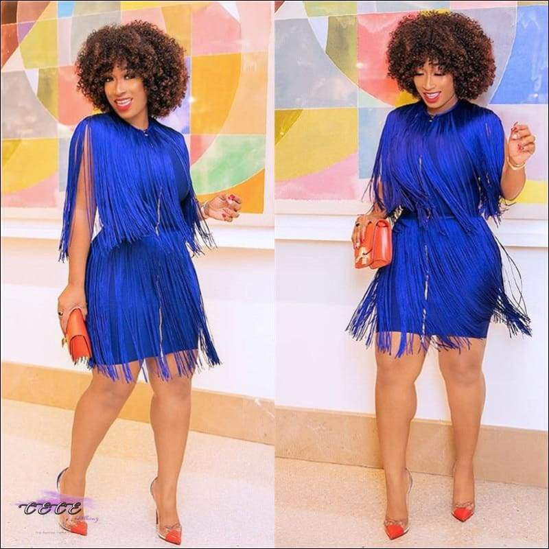I Set Trends Blue Tassel Mini Dress