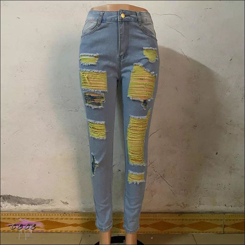 'I Stay Hot' Ripped Blue Denim Jeans