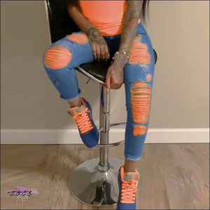 'I Stay Hot' Colorful Ripped Denim Jeans orange light blue / S / United States