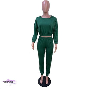 'I Stay In Vogue' Two Piece Off Shoulder Tracksuit deep green suit / S / United States