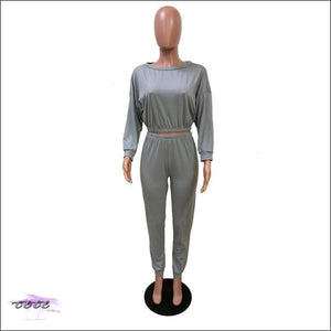 'I Stay In Vogue' Two Piece Off Shoulder Tracksuit gray 2 piece set / S / United States
