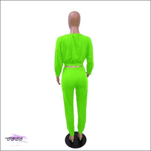 'I Stay In Vogue' Two Piece Off Shoulder Tracksuit neon green / S / United States