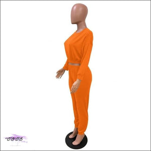 'I Stay In Vogue' Two Piece Off Shoulder Tracksuit orange suit / S / United States