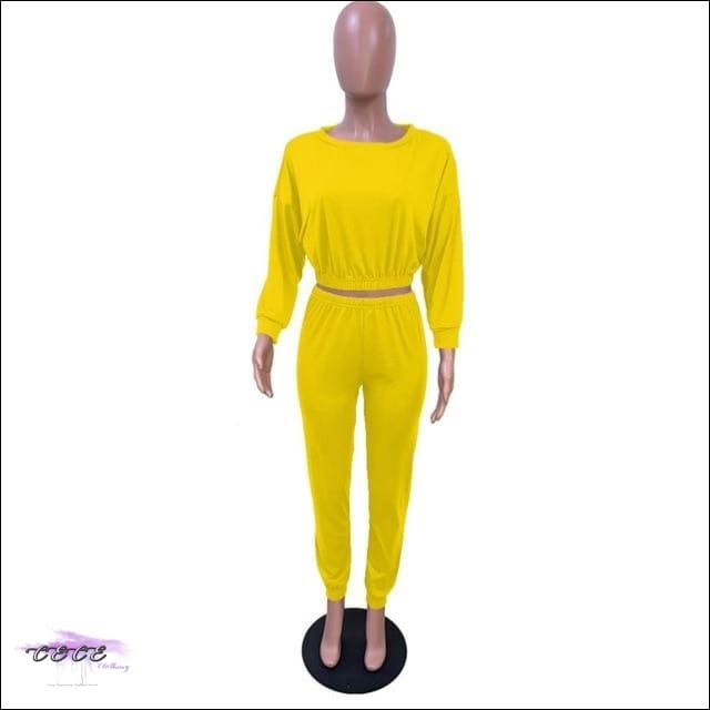 'I Stay In Vogue' Two Piece Off Shoulder Tracksuit yellow 2 piece set / S / United States