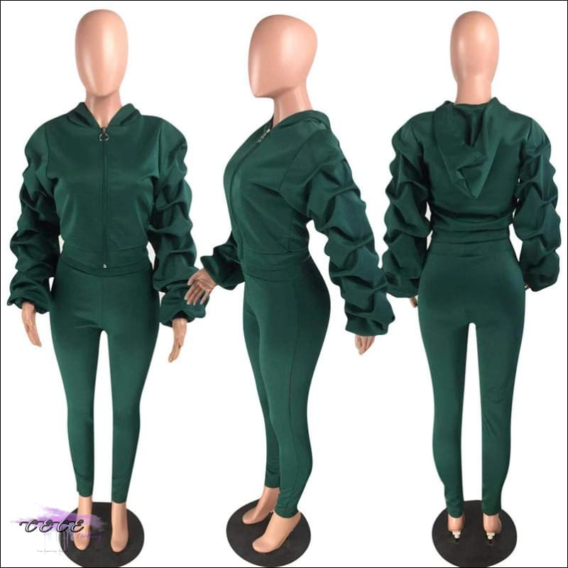 'I Stay Ready' Ruched Lantern Long Sleeve Two Piece Tracksuit Army Green / 1X