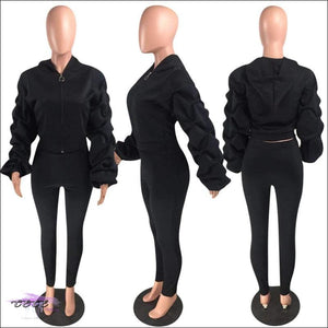 'I Stay Ready' Ruched Lantern Long Sleeve Two Piece Tracksuit Black / 2X