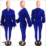 'I Stay Ready' Ruched Lantern Long Sleeve Two Piece Tracksuit Blue / 2X