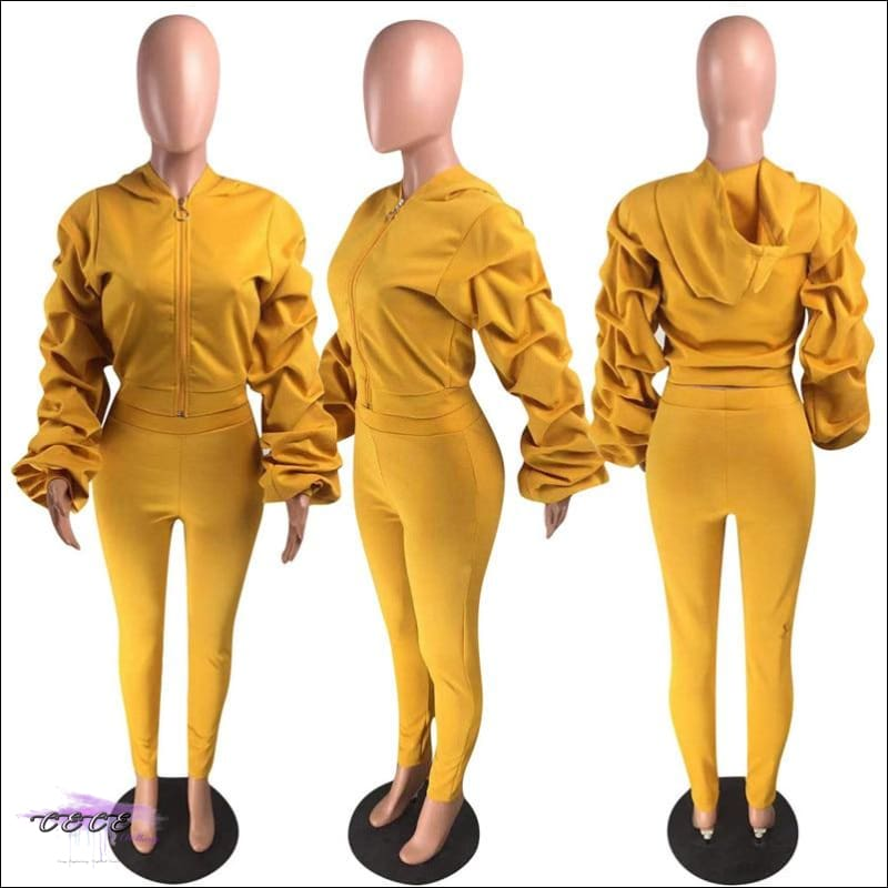 'I Stay Ready' Ruched Lantern Long Sleeve Two Piece Tracksuit Mustard Yellow / 1X