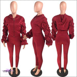 'I Stay Ready' Ruched Lantern Long Sleeve Two Piece Tracksuit Red / 1X