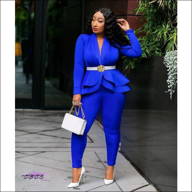 Im About My Coins Blue Ruffle Two Piece Suit blue 2 piece set / S