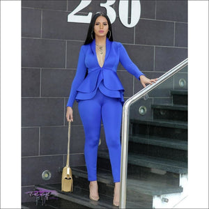 Im About My Coins Blue Ruffle Two Piece Suit