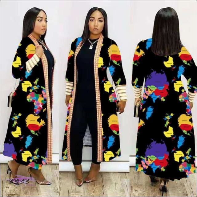 'Im Just Showin Off' Long Threaded Thick Long Cardigan black / S