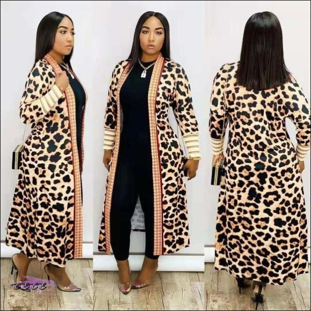 'Im Just Showin Off' Long Threaded Thick Long Cardigan leopard / 1X