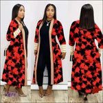 'Im Just Showin Off' Long Threaded Thick Long Cardigan red / 4X