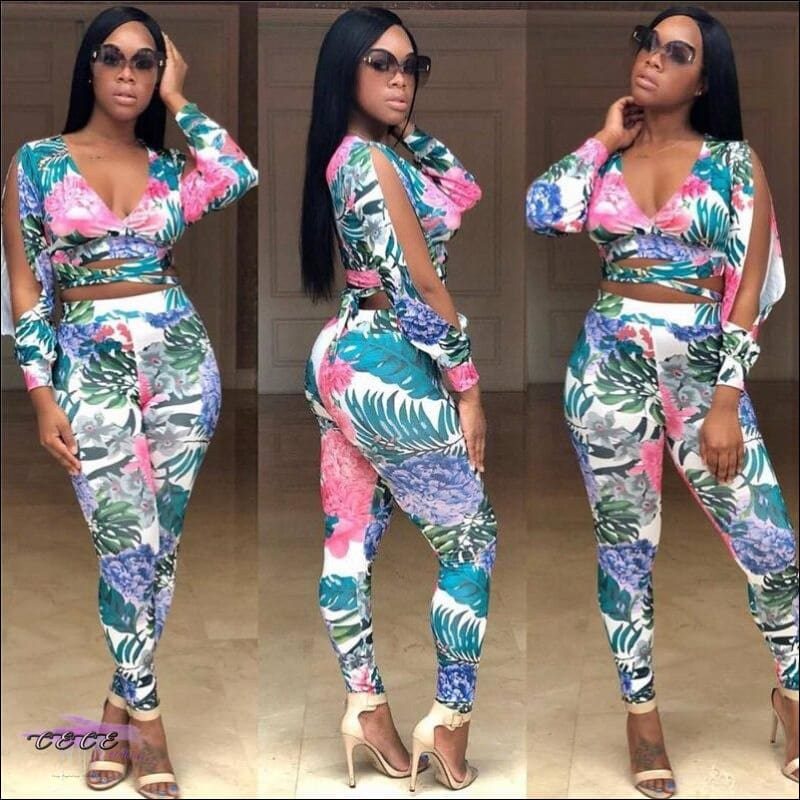 Im So Sexy Tropical Leaf Floral Print Two Piece Set S