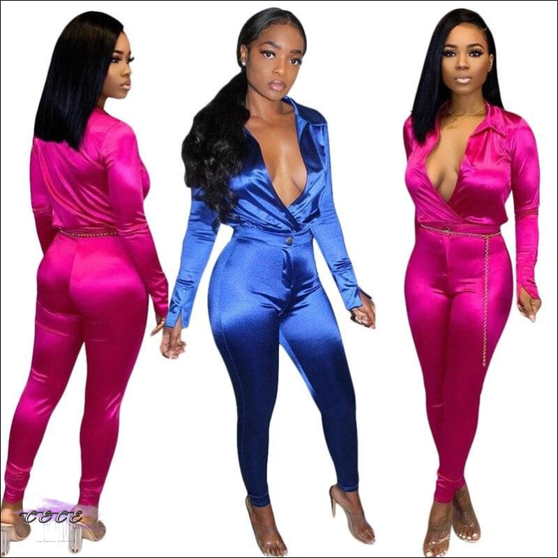 'Im So Silky Smooth' Deep V Neck Two Piece Jumpsuit