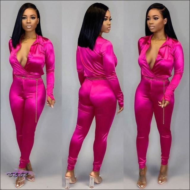 'Im So Silky Smooth' Deep V Neck Two Piece Jumpsuit ROSY / 2X