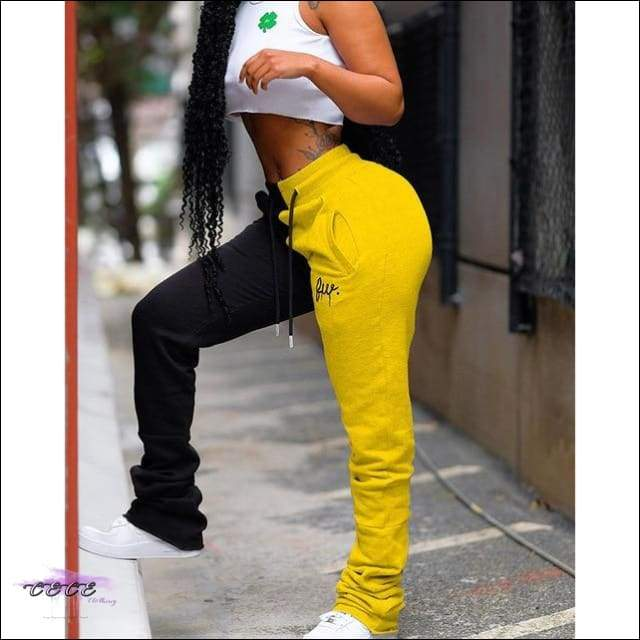 'Keeping These Curves Comfy' Pleated Two-Tone Sweatpants (Part 2) yellow black / L