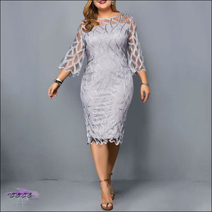 Kill Em With Class Gray Lace Dress 1X