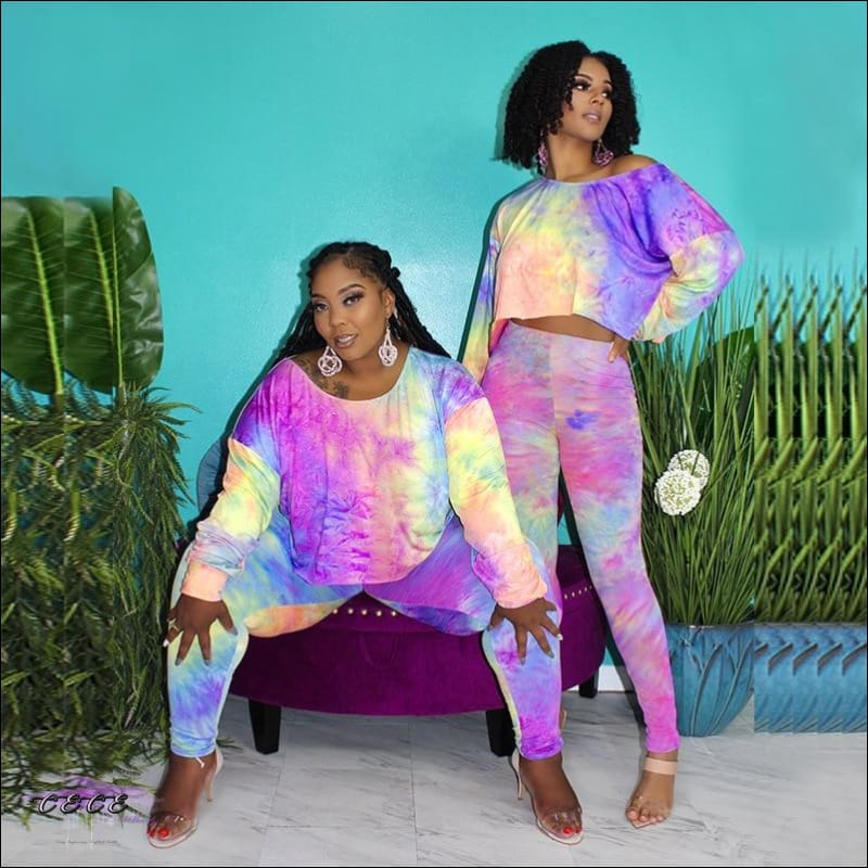 'Knock Ya Off Your Feet' Two Piece Casual Tie Dye Tracksuit