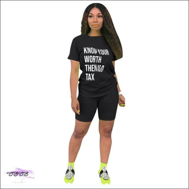 'Know Your Worth Then Add Tax' Two Piece Lounge Set black 2 piece set / 2X / United States