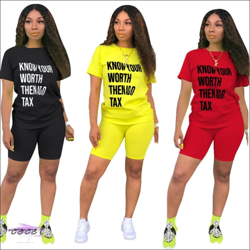 'Know Your Worth Then Add Tax' Two Piece Lounge Set