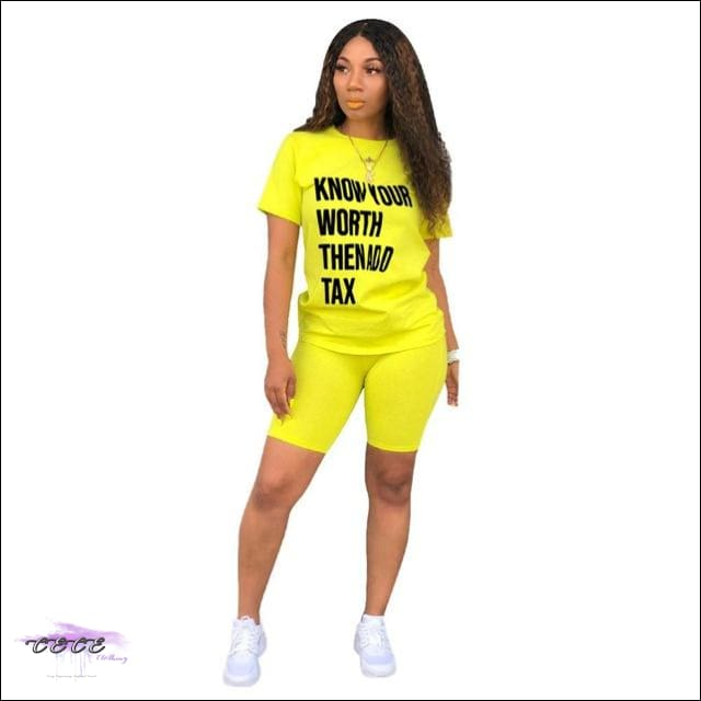 'Know Your Worth Then Add Tax' Two Piece Lounge Set yellow suit / 2X / United States