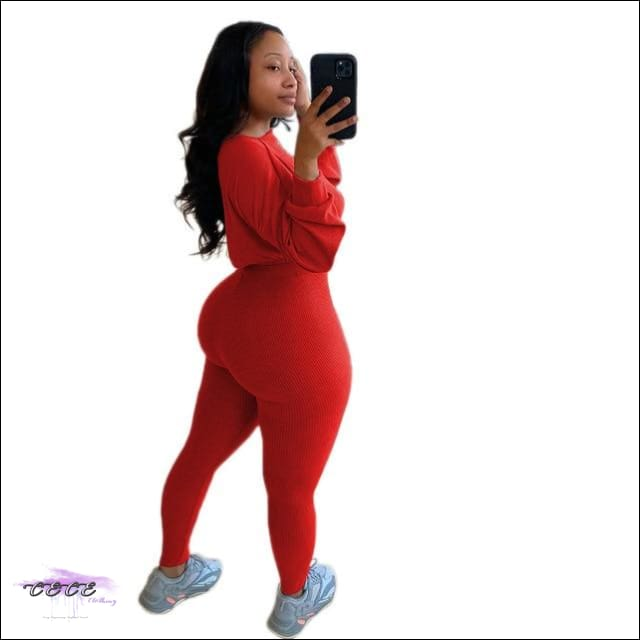 'Lace Me Up From Da Front' Two Piece Tracksuit red set / XL / United States