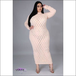 'Let These Curves Breathe' Fishnet Maxi Dress apricot / 5X
