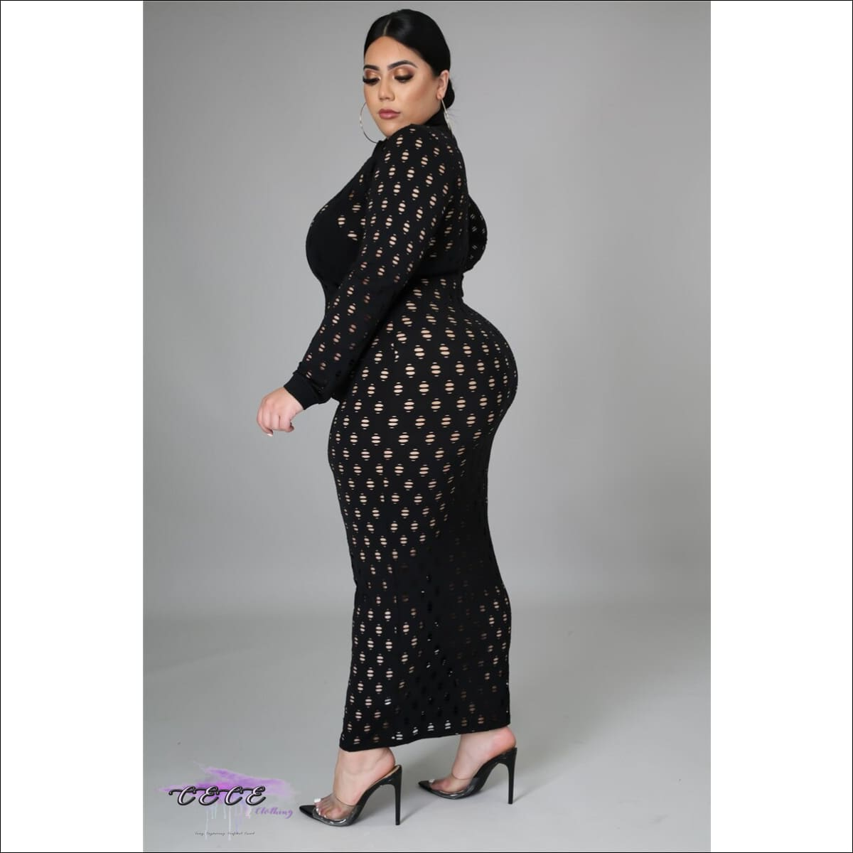 'Let These Curves Breathe' Fishnet Maxi Dress