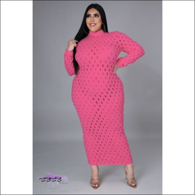 'Let These Curves Breathe' Fishnet Maxi Dress Pink / 4X